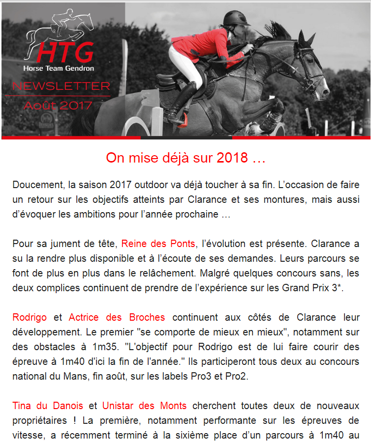 Newsletter Aout Clarance Gendron HTG