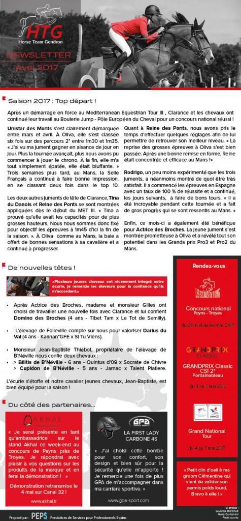 Newsletter Clarance Gendron Avril 2017