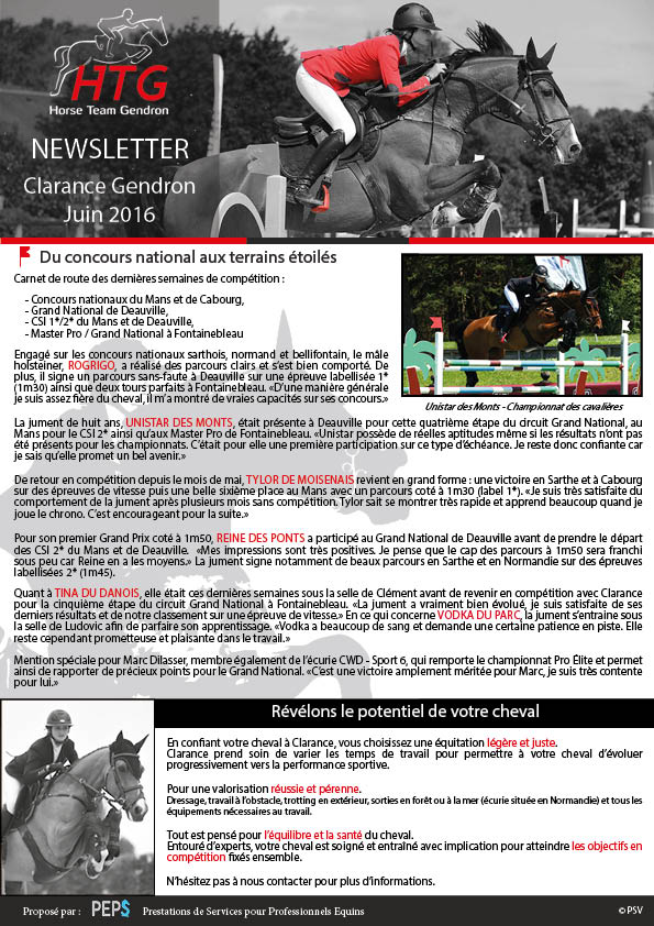 Newsletter Clarance Gendron Juin 2016 HTG