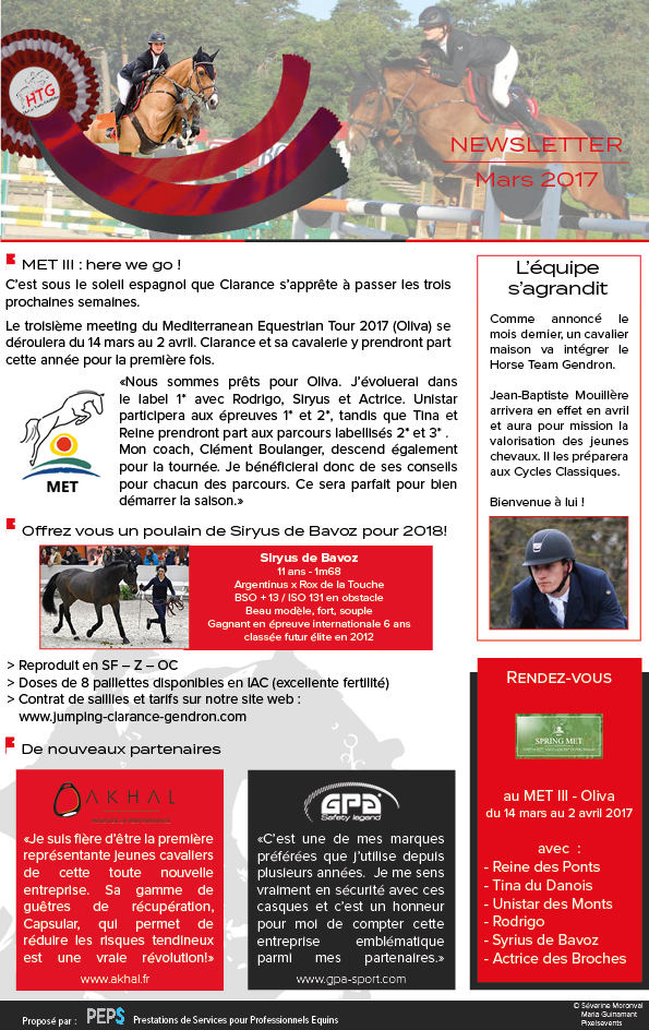 Newsletter Mars 2017 Clarance Gendron