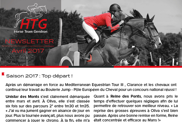 Newsletter - Avril 2017 Clarance Gendron