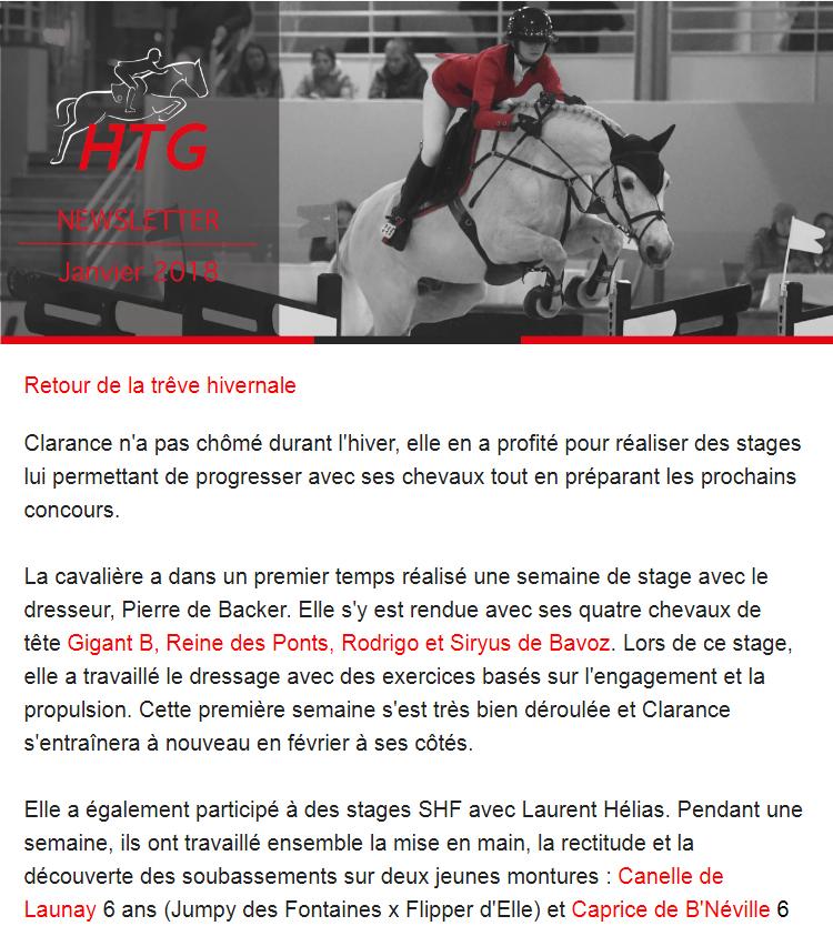 Newsletter janvier 2018 Clarance Gendron