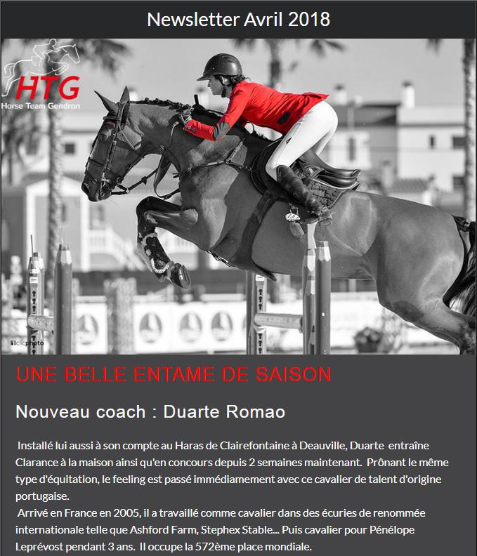 Avril 2018 Newsletter Clarance Gendron HTG